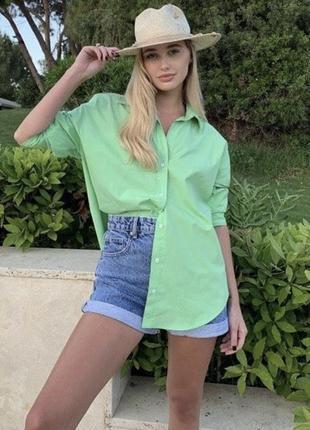 Новые зелёные рубашки zara с биркой, xs и s
