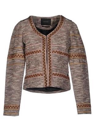 Пиджак жакет женский красивый интересный латэ бежевый коричневый капучино блестящий