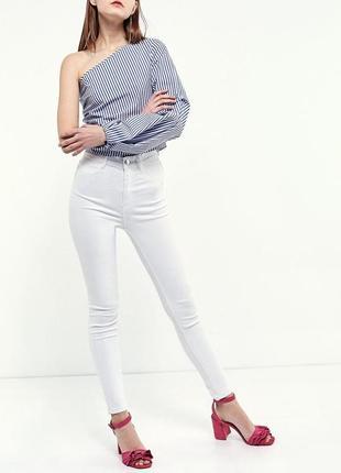 Білі базові джинси скіни, висока посадка розмір 36