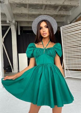 Зеленое короткое хлопковое платье с открытыми плечами