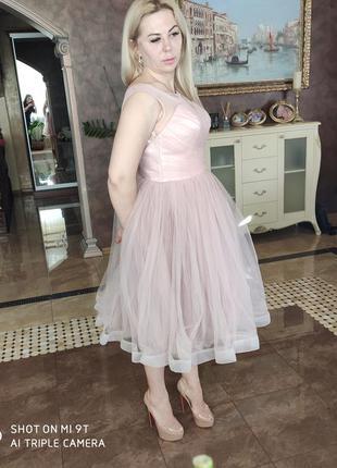 Нюдовое фатиновое платье