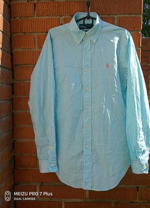Мужская бирюзовая рубашка polo ralph lauren/рубашка в полоску