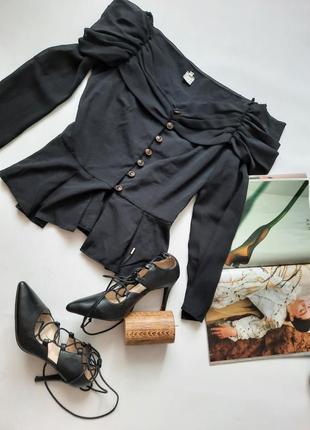 Шикарная блуза с буфами и баской