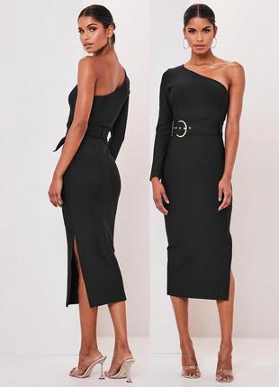 Распродажа платье missguided миди премиум на одно плечо с золотым поясом с asos