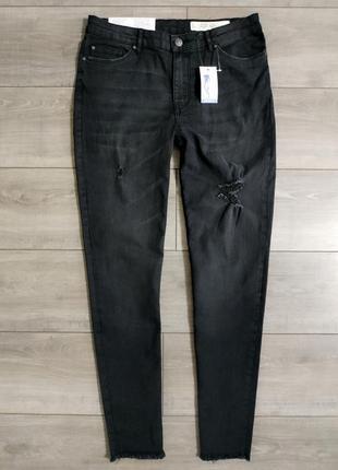 Черные джинсы скинни зауженные рванки esmara