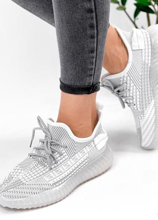 Кроссовки женские siam белые + серый текстиль2 фото