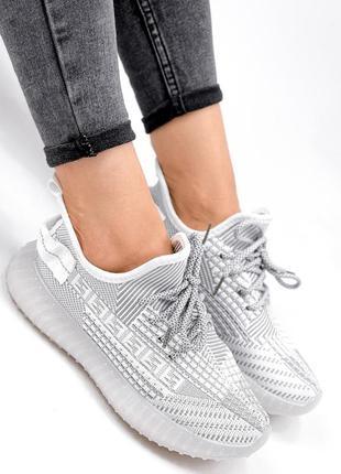 Кроссовки женские siam белые + серый текстиль7 фото