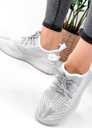 Кроссовки женские siam белые + серый текстиль9 фото