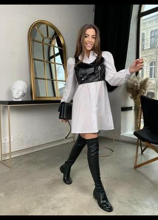Женские стильное платье-рубашка в клетку с топом из эко-кожи2 фото