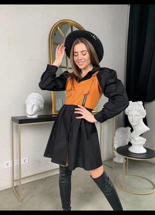 Женские стильное платье-рубашка в клетку с топом из эко-кожи5 фото
