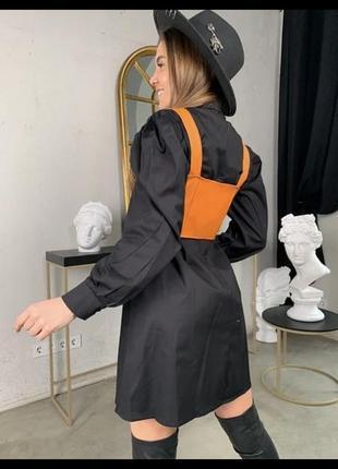 Женские стильное платье-рубашка в клетку с топом из эко-кожи6 фото