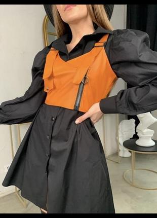 Женские стильное платье-рубашка в клетку с топом из эко-кожи8 фото