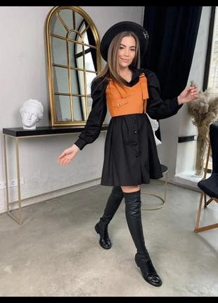 Женские стильное платье-рубашка в клетку с топом из эко-кожи9 фото