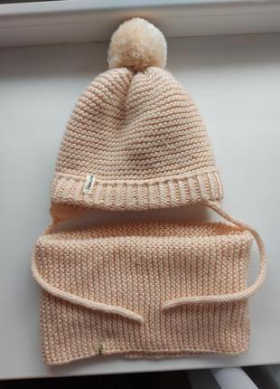 Набор вязаная шапочка, снуд