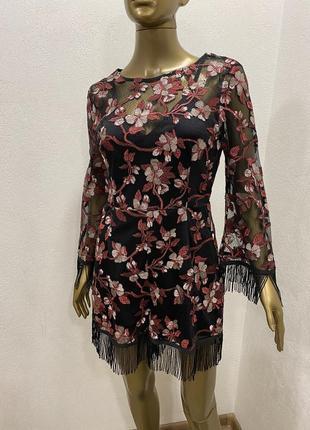 Комбинезон  нарядный сетка с шортами с бахромой цветочный принт1 фото