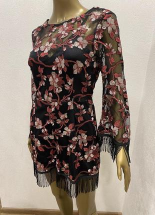Комбинезон  нарядный сетка с шортами с бахромой цветочный принт3 фото