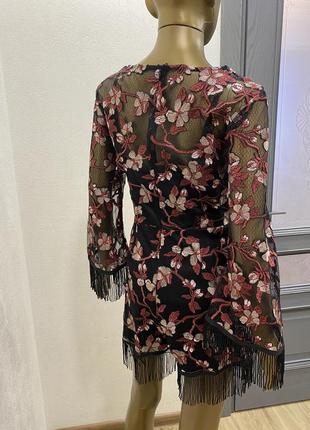 Комбинезон  нарядный сетка с шортами с бахромой цветочный принт5 фото