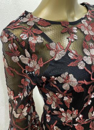 Комбинезон  нарядный сетка с шортами с бахромой цветочный принт6 фото