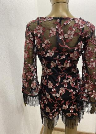 Комбинезон  нарядный сетка с шортами с бахромой цветочный принт4 фото