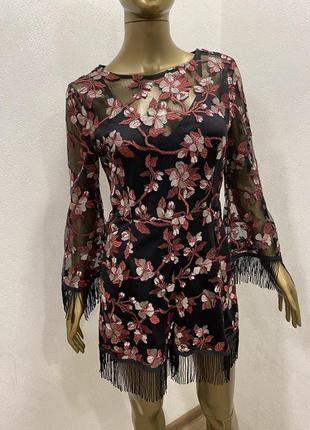 Комбинезон  нарядный сетка с шортами с бахромой цветочный принт2 фото