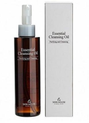 Гидрофильное масло с подсолнечником, оливой и шиповником the skin house essential cleansing oil