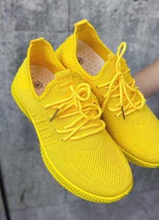 Кроссовки желтые женские текстиль