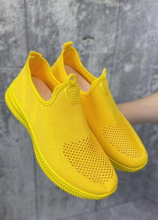 Кроссовки желтые женские текстиль1 фото