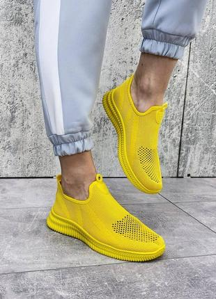 Кроссовки желтые женские текстиль6 фото