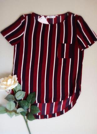 Блуза,кофточка с коротким рукавом в горизонтальную полоску