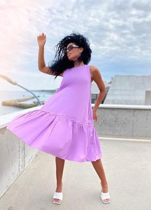 Платье летящее легкое коттон миди