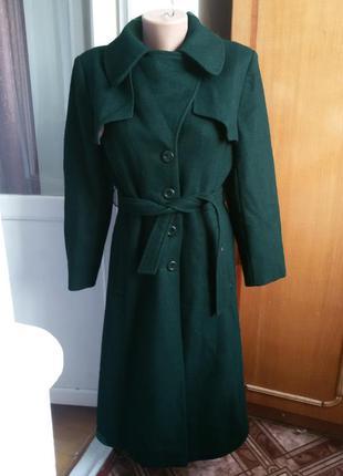 Шерстяное пальто тренч с поясом / 80% шерсть