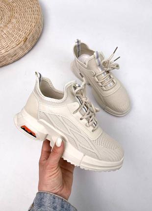 Стильные бежевые текстильные кроссовки на каждый день