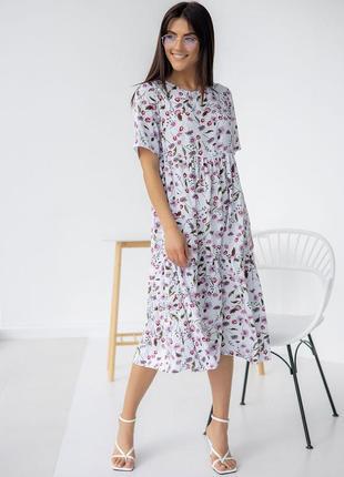 Платье свободного кроя из штапеля
