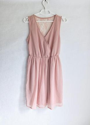 🌿пудрова сукня, платье ,плаття , із мереживною спинкою, кружевная спинка🌿