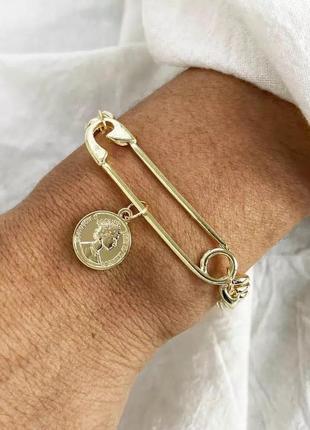 Оригинальный браслет крупная цепь с булавкой минимализм / большая распродажа!