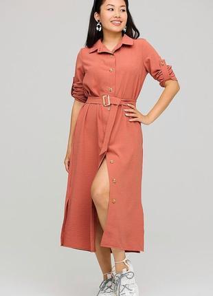 Платье-рубашка миди, размер s-l