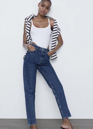Джинсы mom fit zara зара высокая посадка, прямые джинси