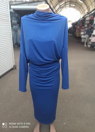 Платье вечернее нарядное длинное цвет электрик
