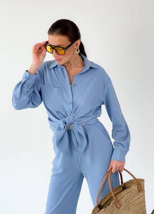 Голубой костюм брючный летний с рубашкой