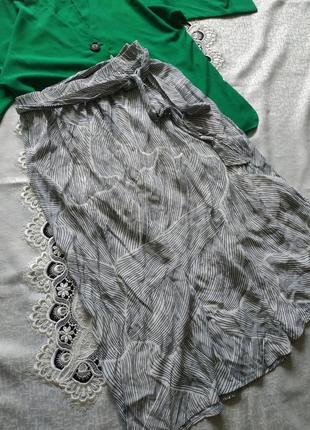 Натуральная юбка миди юбочка свободного кроя