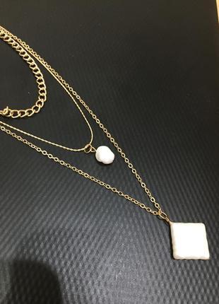Многослойное колье цепочка ожерелье чокер жемчуг