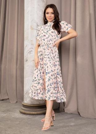 Розовое платье-рубашка на кулиске