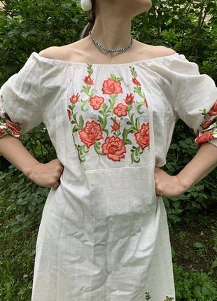 Платье, рубашка с вышивкой, украинский костюм