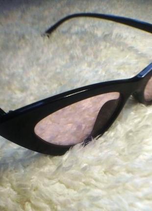 Очки лисички солнцезащитные с розовыми линзами имиджевые3 фото