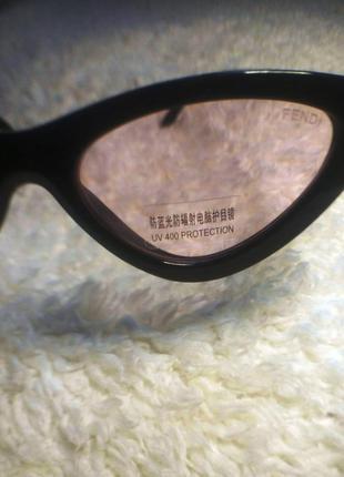 Очки лисички солнцезащитные с розовыми линзами имиджевые5 фото