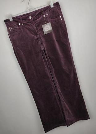 Джинсы брюки стрейчевые велюровые новые модные со стразами uk 14/42/l