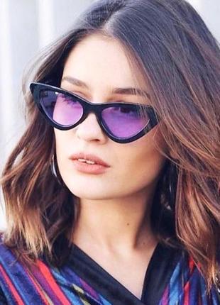Очки лисички солнцезащитные с розовыми линзами имиджевые1 фото
