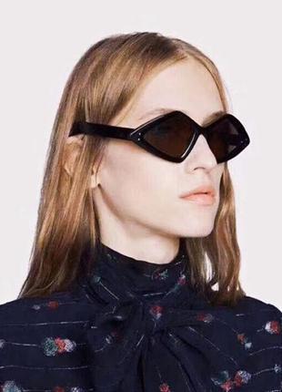 Крутые солнцезащитные очки тренд черные геометрия окуляри чорні сонцезахисні