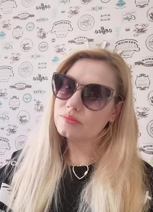 Эксклюзивные брендовые серые прозрачные солнцезащитные женские очки лисички 20218 фото