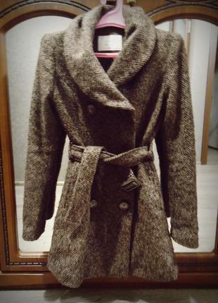 Коричневое трендовое двухбортное твидовое/шерстяное пальто от only🧥🍂